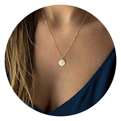 Fettero Necklace for Women Dainty Handmade 14K Gold Fill Carved Full Round Moon Phase Pendant Wafer Chain Minimalist Jewelry