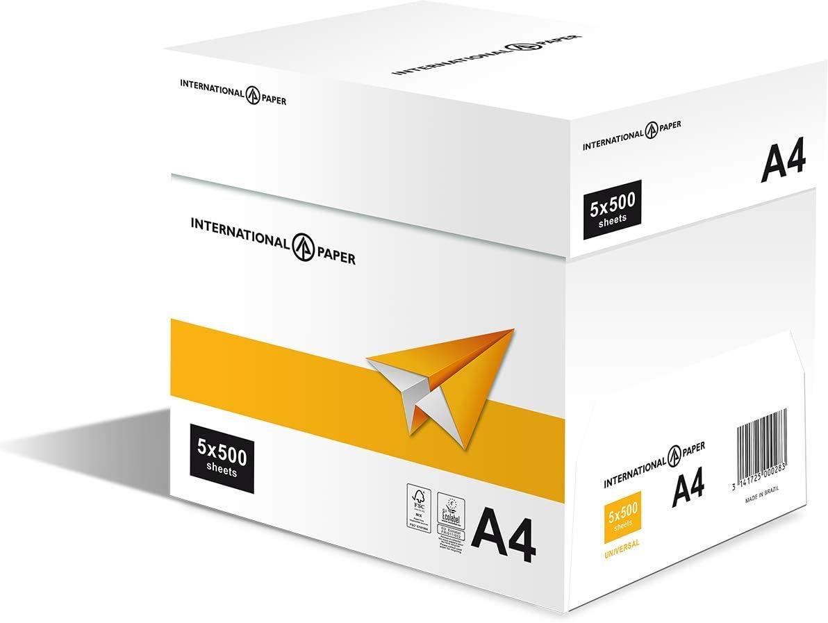 Papel universal IP A4, 75 g/m², caja de 5 resmas: Amazon.es: Oficina y papelería