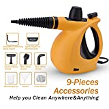 Handheld Steam Cleaner,High-Pressure Chemical Free Steamer Multi Surface Use Pressurized Steam Cleaner with 9 Pieces Accessories for Stain Removal, Carpets, Curtains, Car Seats, Kitchen Surface