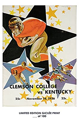 RARE POSTER thick CLEMSON UNIVERSITY vintage 1936 kentucky FOOTBALL PROGRAM REPRINT #'d/100!! 12x18