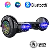 "NHT 6.5"" inch Aurora Hoverboard Self Balancing Scooter with Colorful LED Wheels and Lights - UL2272 Certified Carbon Fiber/Spider/Built-in Bluetooth Speaker Available (Spider Black)"