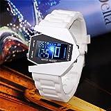 S9Q Cool Oversized Airplane Style Light Digital Sports Rubber Wrist Watch Men White
