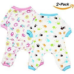 Scheppend 2-pack Dogs Cats Onesie Pajamas Cotton Puppy Rompers Pet Jumpsuits Cozy Bodysuits, Red Horse & Paw M