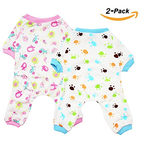 Scheppend 2-pack Dogs Cats Onesie Pajamas Cotton Puppy Rompers Pet Jumpsuits Cozy Bodysuits, Red Horse & Paw (Costume Ideas With Normal Clothes)