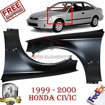 Fender For 1999-2000 Honda Civic Front Driver Side Primed Steel w// Molding Holes