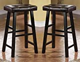 """Product review for Bobkona Drake Set of 2, Country Series Bar Stool - 29""""H - in Espresso Finish with Faux Leather"""