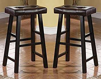 Excellent Bobkona Drake Set Of 2 Country Series Bar Stool 29H In Espresso Finish With Faux Leather Andrewgaddart Wooden Chair Designs For Living Room Andrewgaddartcom