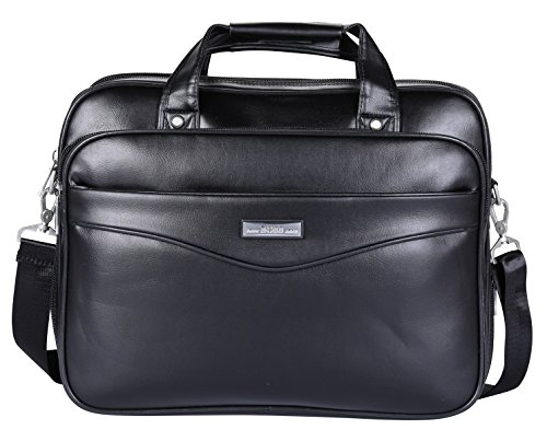Leather 16 inch Briefcase Large Business Shoulder Bag Water Resistant Handbag for Mens and Womens (Black-BC2) ()