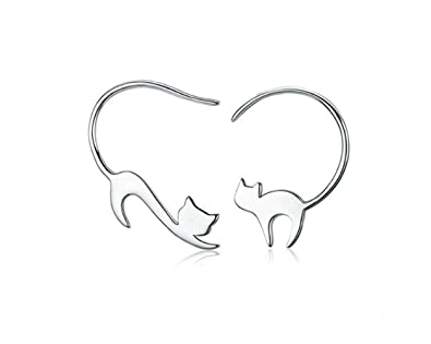 Hoveey Gato Pendientes, Pendientes de gancho para oreja con diseño ...