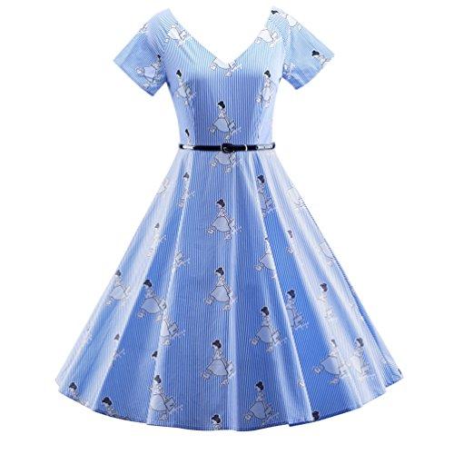 YouPue 1950er Damen Retro Sexy VAusschnitt Kleid Schwingen Streifen ...