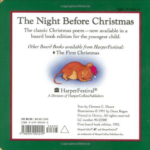 the night before christmas clement c moore dana regan 9780694004249 amazoncom books