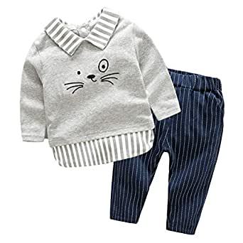 Fairy Baby 2Pcs Boys Outfit Set Casual Clothes Set Cartoon Tops Tee Shirt+Stripe Pant Set Size 3-6M (Gray)