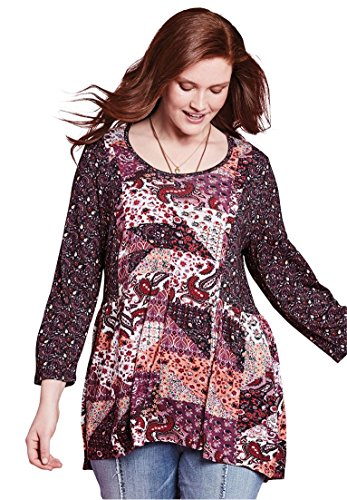 Chelsea Studio Womens Plus Size Mixed Print Babydoll Tunic