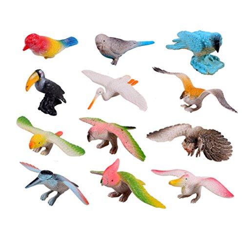Buytra Plastic Birds Animals Figures Set,Pack of 12, Animal Models Toy Kit for Kids Children