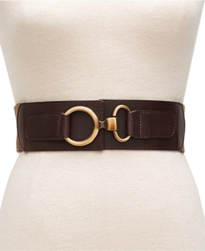 (Style & co. Womens Herringbone Interlock Stretch Brown Belt Med-Large)