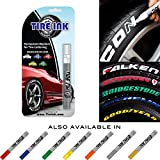Automotive : Tire Ink | Paint Pen For Car Tires | Permanent and Waterproof | Carwash Safe | 8 Colors Available (2 Pens, White)
