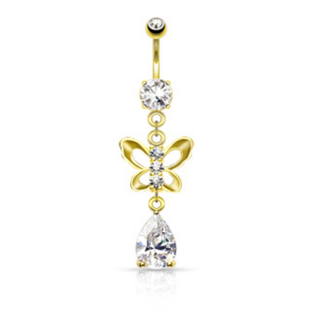 Sold by Piece Clear CZ Paved Butterfly and Tear Drop Cut CZ WildKlass Navel Ring