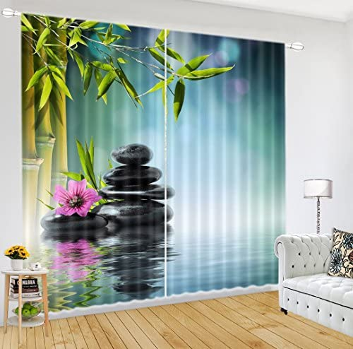LB Spa Window Curtains for Living Room Bedroom,Zen Basalt Stones Under The Bamboo Leaf Window Treatment Decorative 3D Blackout Curtains Drapes 2 Panels,28 by 65 inch Length