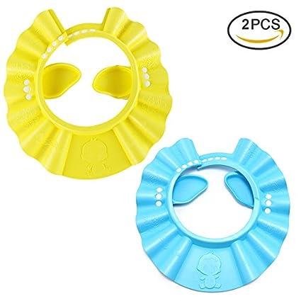 Pretty Ver los niños gorros de baño ajustable espesan impermeable Champú para  bebés sombreros niños gorros 1f14c898632
