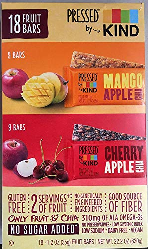 KIND Pressed by Bars - Mango Apple Chia + Cherry Apple Chia, 1.2 Oz, 18 Ct