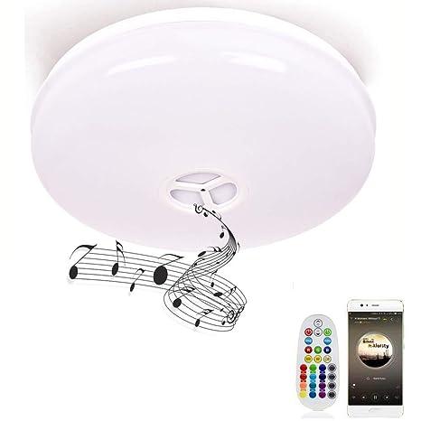 Lámpara de techo con mando a distancia, HOREVO Ø36cm IP65 de luz de techo regulable con altavoz Bluetooth Música, aplicación de teléfono inteligente ...