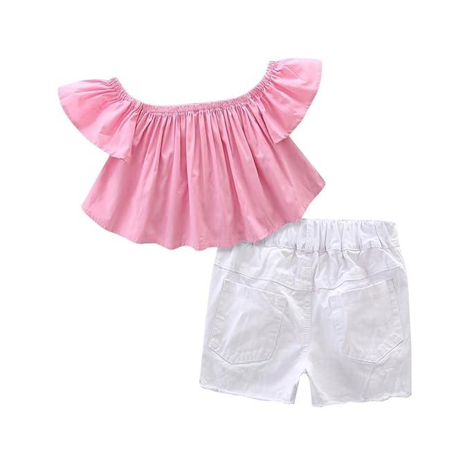 Brightup Niños Niñas Blusa sin hombros Tops + Jeans Shorts de mezclilla +  Conjunto de ropa de la diadema Conjuntos de verano para 1-7 años   Amazon.es  Ropa ... 096e2fe303a5