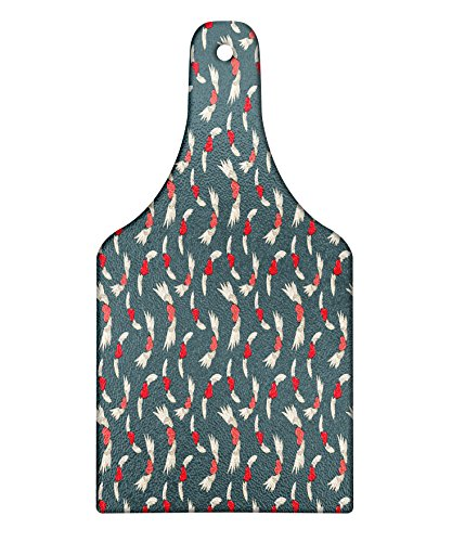 Lunarable Hearts Cutting Board, Adornment Angel Wings Love is in the Air Vibrant Colored Backdrop, Decorative Tempered Glass Cutting and Serving Board, Wine Bottle Shape, Grey Coral Cream ()
