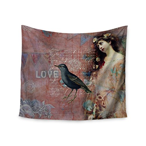 KESS InHouse Suzanne Carter ''Faith Hope Love'' Pink Typography Wall Tapestry, 51'' X 60'''' by Kess InHouse