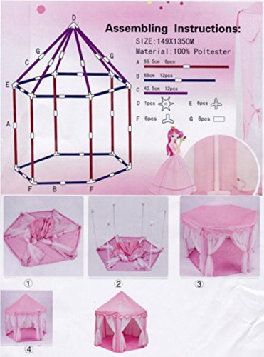 ,Indoor Girls Large Playhouse Play Tent for Childs Toddlers Gift//Presents PinkPrincessTent/_SmallLED02 DxH LifeVC Kids Princess Play Tent,55/″x 53/″ Balls Not Included