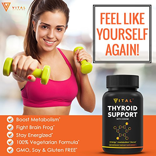 Thyroid Support Supplement with Iodine - Metabolism, Energy and Focus Formula - Vegetarian, Soy & Gluten Free - Non-GMO - Vitamin B12 Complex, Zinc,Selenium, Ashwagandha, Copper & More,30 Day Supply by Vital Vitamins (Image #3)