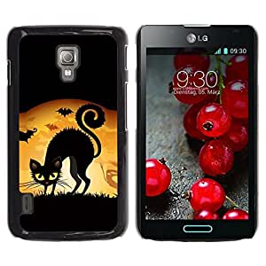 LECELL -- Funda protectora / Cubierta / Piel For LG Optimus L7 II P710 / L7X P714 -- Witch Black Cat Full Moon --