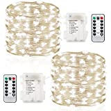 GDEALER 2 Pack Fairy Lights Fairy String Lights Battery Operated Waterproof 8 Modes Remote Control 60 Led String Lights 20ft Copper Wire Firefly lights Christmas Decor Christmas Lights Cool White