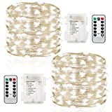 GDEALER 2 Pack 20 Feet 60 Led Fairy Lights Battery Operated with Remote Control Timer Waterproof Copper Wire Twinkle String Lights for Bedroom Indoor Outdoor Wedding Dorm Decor Cool White