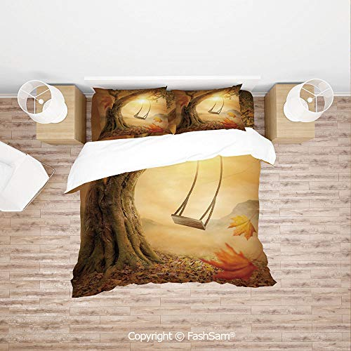 FashSam Luxury 4 Pieces Duvet Cover Bedding Set Dream Swing Hanged on Majestic Tree Magic Fall Season Childhood Picture for Family(Double)