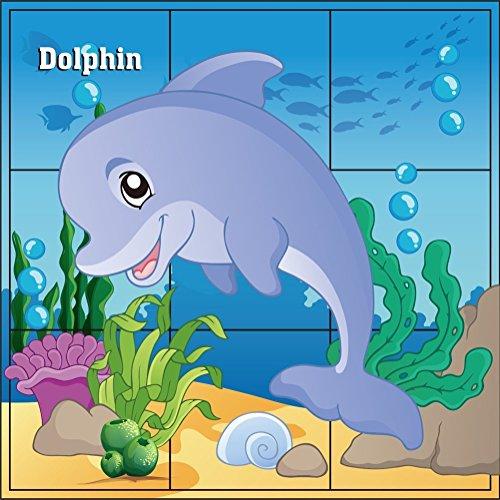 DDTOP 3D Cube Wooden Deep Sea Animal Dolphin Crab Tortoise Tropical Fish Starfish Thorn Dolphin Puzzles Jigsaw Blocks Preschool Children Toy Building Blocks Puzzle (Fish Wooden Jigsaw Big)