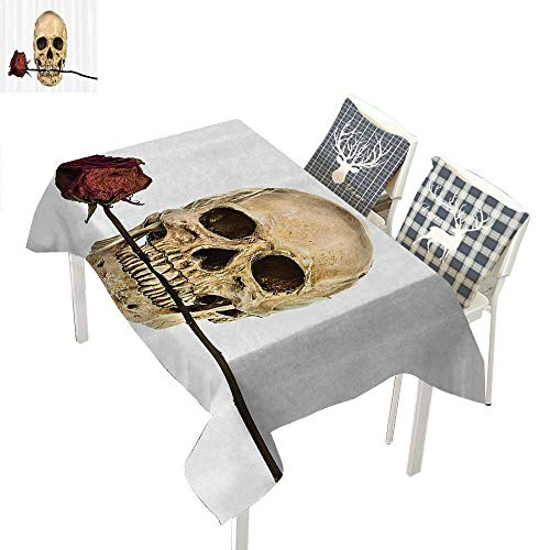 WilliamsDecor Gothic Decor Collection Polyester tablecloths Skull with Dry Red Rose in Teeth Anatomy Death Eye Socket Jawbone Halloween ArtIvory White Rectangle Tablecloth W60 xL84 -