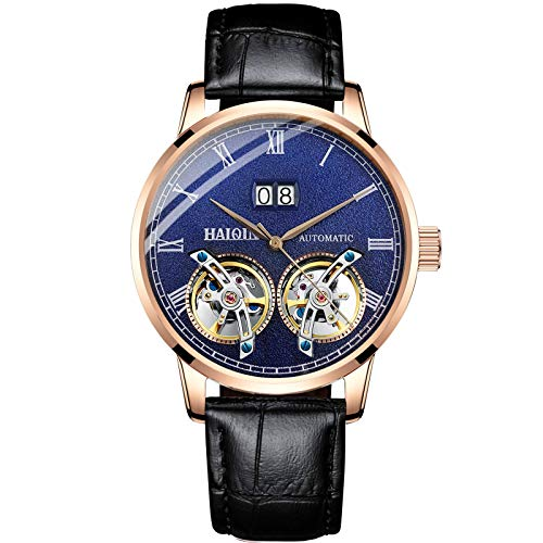 Classic Men's Mechanical Watches Automatic Watch for Men Casual Leather Band Waterproof Business Wristwatches Self Wind Double Tourbillon Clock Open Back (Gold Blue 8821)