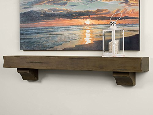 Breckenridge 48 inch Wood Fireplace Mantel Shelf, Grey Distressed (Best Mantle For Wood)