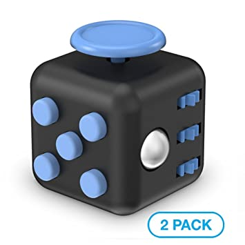 Maxboost Fidget Cube Pro 6 Sides Stress Releaser Ball 2 Pack Black