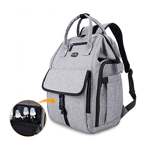 GYSSIEN Diaper Bag Multi-function Waterproof Travel Backpack Nappy Bags for Baby Care, Large Capacity, Stylish and Durable, Gray