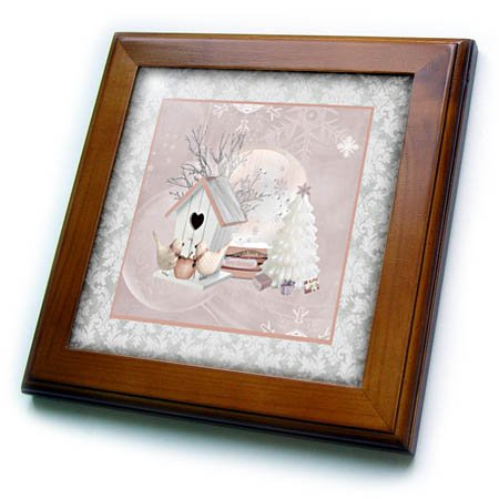 3dRose Beverly Turner Christmas Design - Pink Birds at Birdhouse, White Christmas Tree, Gifts, Merry Christmas - 8x8 Framed Tile (ft_272716_1) (Birdhouse White Dog)