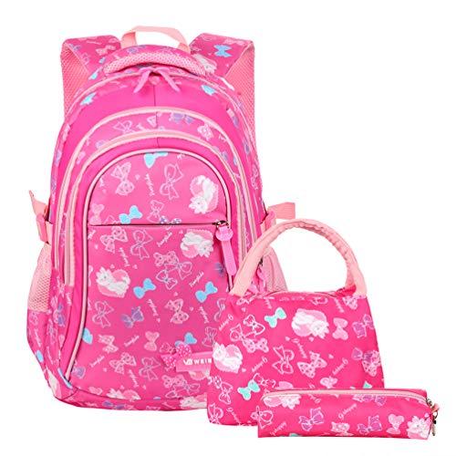Kid Book Bag - VBG VBIGER School Bags School Backpack Polka Dot 3pcs Kids Book Bag Lunch Bags Purse Girls Teen