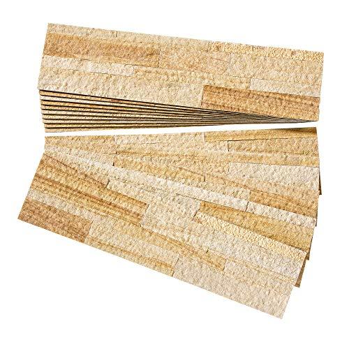 Aspect Peel and Stick Stone Overlay Kitchen Backsplash - Golden Sandstone (Approx. 15 sq ft Kit) - Easy DIY Tile Backsplash (Sandstone Wall)