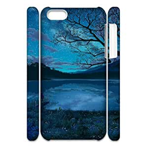3D Hand Painted Lake and Mountains IPhone 5C Case, Design Case Protective Case for Iphone 5c Pharrel {White}