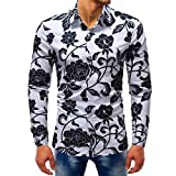 iLXHD Man Fashion Printed Blouse Casual Long Sleeve Slim Shirts Tops (2XL, Multicolor 9)