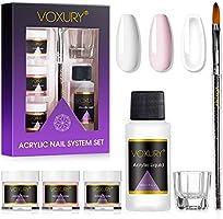 Voxury Set mit Acrylpulver und Flüssigkeit, 3 Farben, Transparent, Rosa, Weiß und ein flüssiger Monomer,...