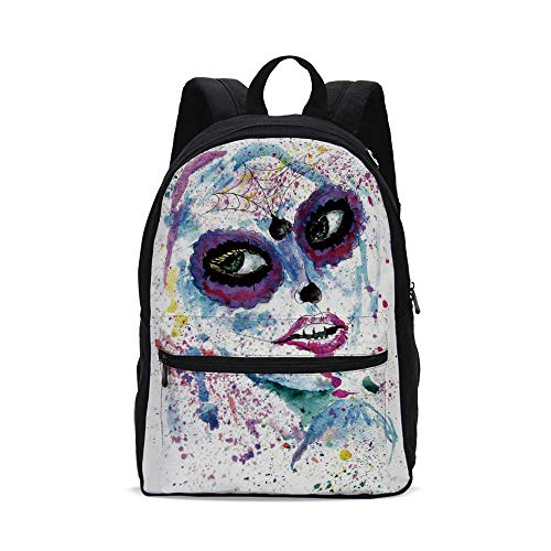 Girls Fashion Canvas printed Backpack,Grunge Halloween Lady with Sugar Skull Make Up Creepy Dead Face Gothic Woman Artsy for -