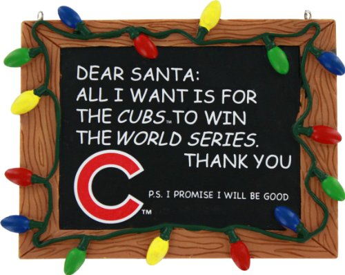 MLB Chicago Cubs Resin Chalkboard Sign Ornament, Blue, One Size