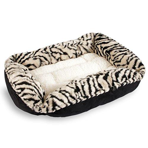 Sofantex Tiger Print Plush Pet Bed Black/White (Tiger 03, 25'')
