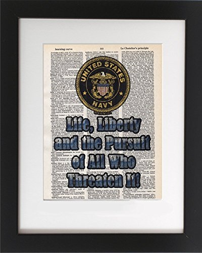 US Navy - Pursuit - Upcycled Dictionary Military Wall Art Print 8x10. Tribute to the Armed Services. - UNFRAMED - Frame and matting are for presentation purposes only to show you how they can look.